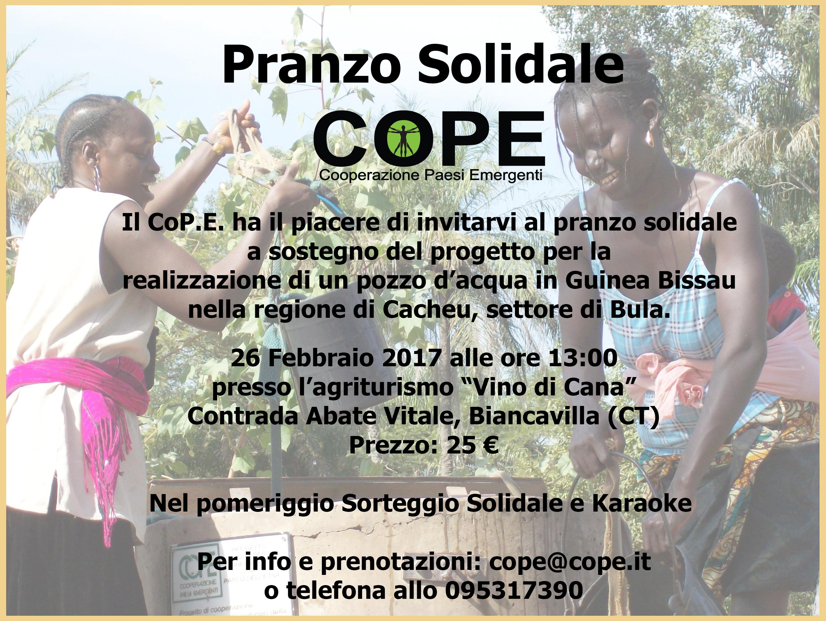 Pranzo Solidale Co.P.E. 26 Febbraio 2017